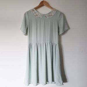 Forever 21 Mint Peter Pan Collar Daisy Dress Large